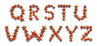 Alphabet letters made of real starfish Q to Z Stock Images