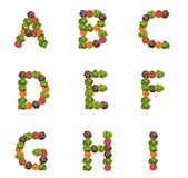 Alphabet letters made from vegetables Royalty Free Stock Photo