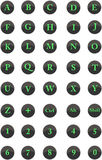 Alphabet letters, natural numbers and main keys Stock Image