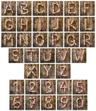 Alphabet letters and numbers made from wine corks Royalty Free Stock Photography