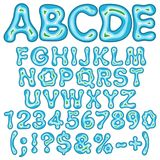 Alphabet, letters, numbers and signs in the form of an island in the sea. Isolated vector objects. Alphabet, letters, numbers and signs in the form of an island Royalty Free Illustration