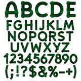 Alphabet, letters, numbers and signs from green cloth tartan. Isolated vector objects. Alphabet, letters, numbers and signs from green cloth tartan. Isolated Royalty Free Stock Images