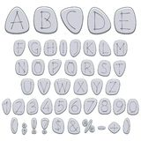 Alphabet, letters, numbers and signs on pebbles, runes. Isolated colored vector objects. Alphabet, letters, numbers and signs on pebbles, runes. Isolated vector illustration