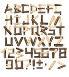 Alphabet from wooden boards and bark. Alphabet with letters from old wooden boards and bark. 3d render Stock Photography