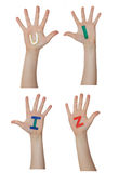 Alphabet (letters) painted on children hands.  Rises up hands. Stock Images