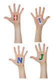 Alphabet (letters) painted on children hands.  Rises up hands. Royalty Free Stock Photos