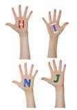 Alphabet (letters) painted on children hands. Rises up hands. Alphabet (letters) painted on children hands. Rises up hands royalty free stock photos