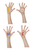 Alphabet (letters) painted on children hands. Rises up hands. Alphabet (letters) painted on children hands. Rises up hands stock image
