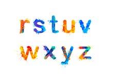Alphabet. Letters. Part 3 of 3. Alphabet of watercolor splash paint. Letters. Part 3 of 3 Stock Photography