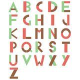 Alphabet 26 letters red green brown on white background Stock Photo