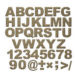 Alphabet - letters from rusty metal with rivets. Objects over white Royalty Free Stock Photography