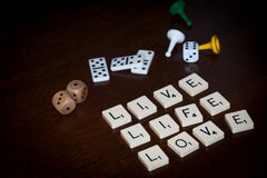 Alphabet letters spell out `LIVE LIFE LOVE` royalty free stock images