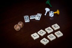Alphabet letters spell out `LOVE YOU` royalty free stock photo