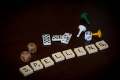 Alphabet letters spell out `SPELLING` royalty free stock images