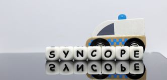 Alphabet letters. Spelling syncope stock photo