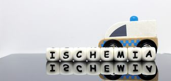 Alphabet letters spelling a word ischemia. A condition demands urgent medical treatment Stock Photos