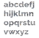 Alphabet from letters of stone. The letters are made of decorative stones Stock Photography