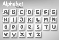 Alphabet Letters Torn Paper Design Set Royalty Free Stock Image