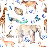 Alphabet letters, wild animals, birds. Childish seamless pattern. Zoo watercolor. Alphabet letters and wild animals, birds. Childish seamless pattern. Zoo vector illustration