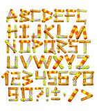 Alphabet with letters from wooden boards Stock Images