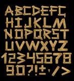 Alphabet - lettres des panneaux en bois avec des rivets Images stock