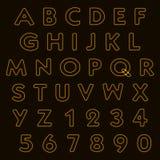 Alphabet, lettres et nombres de lampe au néon Image stock