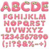 Alphabet, lettres, nombres et caractères roses de gelée avec les yeux verts Objets colorés d'isolement de vecteur illustration libre de droits