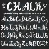 Alphabet Lettres tirées par la main de craie tableau Images libres de droits