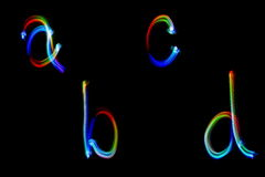 Alphabet light painting Abstract generated colorful pattern for background and design Stock Image