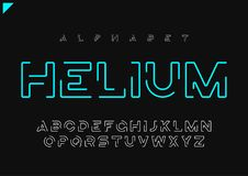 Alphabet linéaire futuriste minimaliste de vecteur d'hélium, oeil d'un caractère, l illustration libre de droits