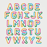 Alphabet line transparent color font style. Stock Photos