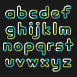 Alphabet line transparent color font style. Royalty Free Stock Images
