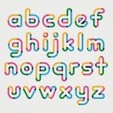 Alphabet line transparent color font style. Stock Image