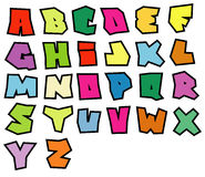 Alphabet lisible de polices de graffiti au-dessus de blanc dans la couleur multiple Photographie stock libre de droits