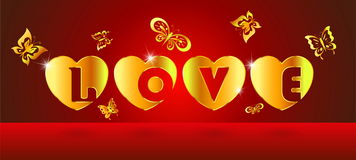 Alphabet love in heart gold with butterfly Stock Photo