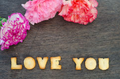 Alphabet love you and carnation Royalty Free Stock Photos