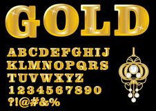 Alphabet in luxury gold design, uppercase letters, numbers, question and exclamation mark, antiquarian golden jewel with Royalty Free Stock Image