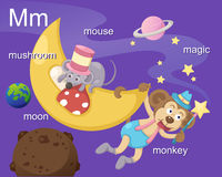 Alphabet.M. Letter.mushroom moon mouse magic monkey Royalty Free Stock Photography