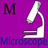Alphabet.m letter.mushroom月亮老鼠魔术猴子 scrapbooking向量的字母表要素 着色显微镜 免版税库存图片