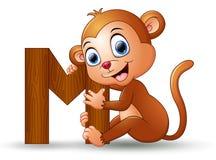 Alphabet M with Monkey cartoon. Illustration of Alphabet M with Monkey cartoon Royalty Free Stock Photo