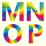 Alphabet M N O P. Stylish Rainbow Alphabet. Colorful your Education. Alphabet  M N O P Stock Photography