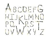 Alphabet made of burned matches. Abc Royalty Free Stock Photo