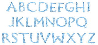 Alphabet made of frozen water Stock Images