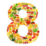 Alphabet made of fruits and vegetables stock photo