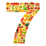 Alphabet made of fruits and vegetables stock image