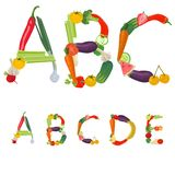 Alphabet made of fruits and vegetables. Vector Royalty Free Stock Photo