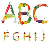 Alphabet made of fruits and vegetables. Vector vector illustration