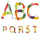 Alphabet made of fruits and vegetables. Vector Stock Photography