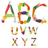 Alphabet made of fruits and vegetables. Vector Stock Image