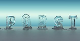 Alphabet made of ice melting. Transparent figures with blue background Stock Photography